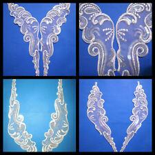 """14"""" Venise Lace White Organza Sequins Appliques 10pcs 5 Pair"""