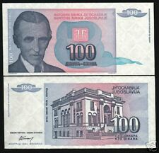 YUGOSLAVIA 100 DINARA P139 1994 TESLA MUSEUM W/O SERIAL # UNC CURRENCY MONEY BIL