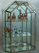 """New 12"""" Glass & Brass Wall Tabletop Curio Display Cabinet Case for figurines +"""