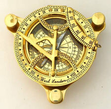 "SUNDIAL COMPASS 4.5"" IN WOODEN BOX ~ NAUTICAL COMPASS ~ MARITIME ~ NAVIGATION"