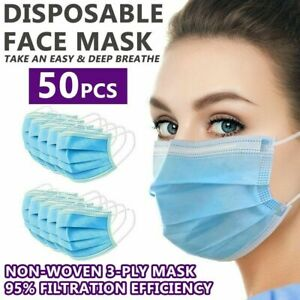 50 PCS Disposable Face Mask 3-Ply Non Medical Surgical Earloop Mouth Dust Cover
