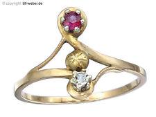 """Anillo """"rubin y ribete diamante"""" 585er Rosegold"""
