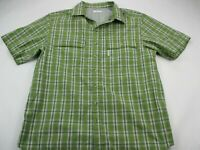 Columbia Mens Button Front Shirt Green Check Plaid Short Sleeve Mesh Collared L