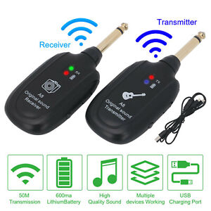 Wireless System Transmitter Electric Guitar Bass Receiver Built-in Rechargeable