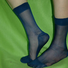 Mens Cool Sheer Dress Suit Socks See Through Soft Double Layer Foot Royal Blue