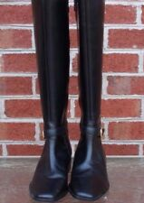 Talbots Leather Knee High Boots Black with Gold Tone Buckle 8.5 AA