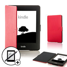 Red Smart Case Cover Wallet for Amazon Kindle Paperwhite 2015 Scrn Prot Stylus