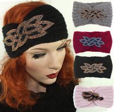 NEU Stirnband Ohrwärmer Kopfband Damen Winter Strick Dekoration Gold Perlen