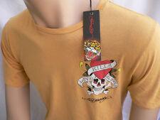New Ed Hardy T shirt Mustard Yellow Skull Love Kills Slowly Short Sleeves Large