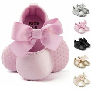 Newborn Baby Girls Princess Dress Shoes First Walk Bow Knot Tie Silk Crib Shoes