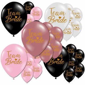 Team Bride Black Pink Gold Hen Night Do Party Latex Printed Balloons Decorations