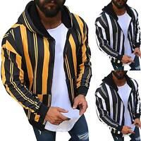 Men Zip Up Hoodie Hood Sweater Jumper Slim Fit Sweat Jacket Coat Outwear M-3XL