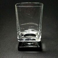 1 (One) VINTAGE DI SARONNO CLEAR & BLACK Square Foot Cocktail Glass -No Text