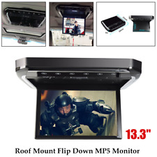 13.3in Car Video Ultra Slim Overhead Roof Mount Monitor Flip Down Mp5 Fm Player