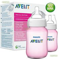 2 x Philips Avent Classic+ 1m+ Baby Feeding Bottles 260ml / 9oz Twin Set - Pink