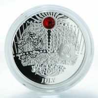 Niue 2013 $1 JULY The Magic Stones of Happiness Silver Proof Coin & Ruby Crystal