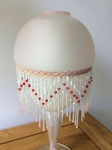 Art Deco Style Beaded Tassels Glass Light Shade Lampshade Pink Red