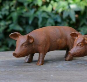 MINI RUSTY PIGLET GARDEN ANIMAL ORNAMENT SCULPTURE CAST IRON FOR GARDEN & PATIO