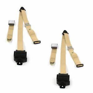 Desoto 1929 - 1945 Airplane 3pt Tan Retractable Bucket Seat Belt Kit - 2 Belts