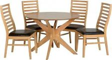 Boston Dining Set in Natural Oak Veneer with 4 Brown Faux Leather Chairs Pads
