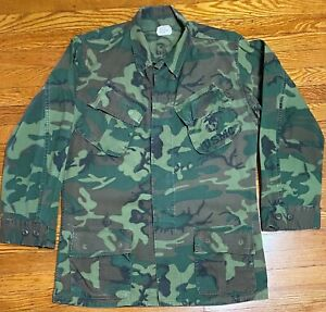 Man's Coat Tropical Rip Stop W/R Poplin Class 2 Camo USMC 1969 Slant Pockets M L