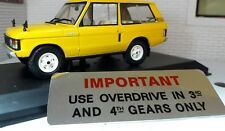 Dash Panel Overdrive information Warning plaque plate Range Rover Classic