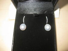 ONE PAIR OF PEARL AND DIAMOND EARRINGS - SOUTH SEA 9.3 MM - NEW
