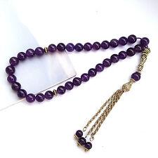 Natural Amethyst Quartz Crystal Islamic Muslim Tasbih Prayer Misbaha Rosary bead