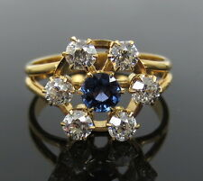 Antique 0.75ct Old Mine Cut Diamond & 0.30ct Sapphire 14K Gold Cluster Ring