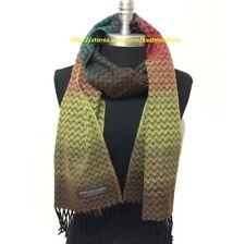 100%CASHMERE SCARF Chevron Coral/Lime/Brown/Teal MADE IN SCOTLAND SOFT Warm Wool