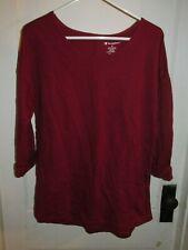 909J3 Champion C26455 Women's 3/4 Cuffed Sleeve Shirt Medium Burgandy