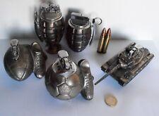 LOT 6 BRIQUET TABLE LIGHTER GRENADE GRENADA TANK BALLE BULLET FOOT RUGBY GAZ