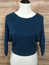 SPLENDID Blue Sequins Sparkle Cropped Sweater Top 3/4 Dolman Sleeves Sz S