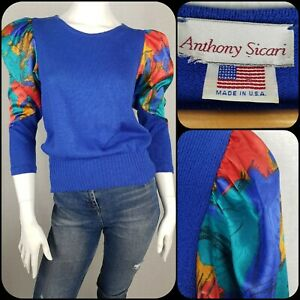 Size S/6/8/10 Vintage 80s Anthony Sicari Sweater Royal Blue Puff Sleeves Jumper