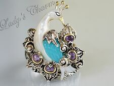 Barbara Bixby Blue Chalcedony Amethyst Peacock Sterling 18k Gold Ring Size 9