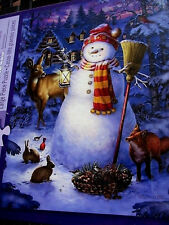 """New 300 Piece Puzzle """"Night Watch Snowman""""Large Format Glow in The Dark 18""""x24"""""""