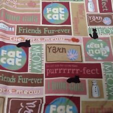 Meow Cat Cotton Sewing Fabric Quilting By M'Liss Rae Hawley Crafts Fat Cats