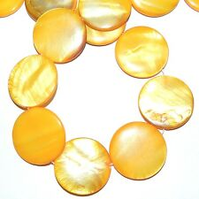 MP1611L Dark Yellow Mother of Pearl 30mm Flat Round Gemstone Shell Beads 16""