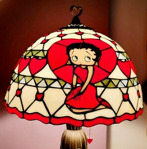 """1980's Danbury Mint Betty Boop Classic Cartoon Character Stained Glass Lamp 20"""""""
