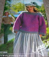 Original Hayfield Knitting Pattern Lady's & Girl's Mohair Mosaic Pat Sweater 228