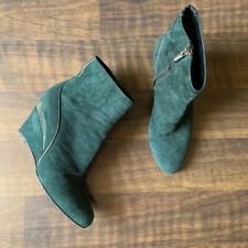 Aquatalia Green Suede Wedge Ankle Booties Womens Size 6 1/2 Zip Up