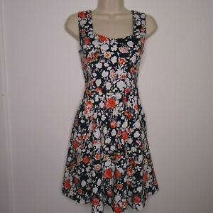 Louche 'Kasey' Navy & White Floral Summer Dress Size 12 Fit & Flare, Pockets,