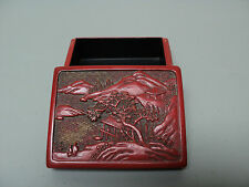 Nice Antique Chinese Hand Carved Red Lacquer Cinnabar Box, Village Scene