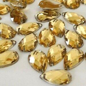 100pcs 8*13mm Lt Gold Tear Drop Acrylic Crystal Strass Rhinestones Sew-on