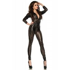 New Black Wet Look Hollow Out Detailed Jumpsuit,Catsuit Club Wear Size UK 10-12