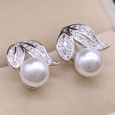 Solid 9ct White Gold Filled Stud Diamond Pearl Leaf Earrings Bride Wedding