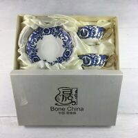 VINTAGE BONE CHINA  Tea cup and saucer Set Blue White Gold With Box