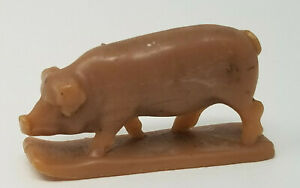 Vintage 1970s Small Brown Pink Plastic Pig Farm Animal Toy Figurine with Stand