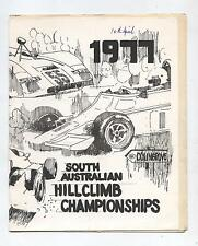 1977 Collingrove Hill Climb Programme Production Touring Racing Sports