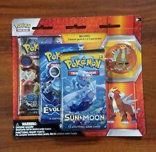 Pokemon Collector Pin 3 Booster Packs Steam Siege Evolution Sun Moon TCG Game